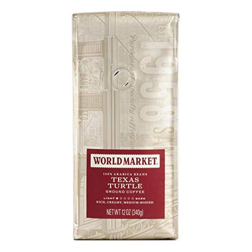 World Market Texas Turtle Ground Coffee - Pure Medium Classic Roasted Powdered Coffee | Perfect for Morning Coffee with Caramel, Chocolate and Pecan Flavors | 12 Ounce