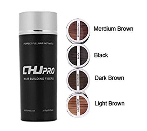 CHJPro Hair Building Fibers-Color Powder Conceal Women& Men's Thinning Hair/ Partial Hair Loss,Light Brown/Medium Brown/Dark Brow (Black)
