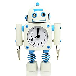 Betus [Non-ticking] Robot Alarm Clock Stainless Metal - Wake-up Clock with Flashing Eye Lights and Hand Clip - 4.5 x 6.5 x 2 (White)