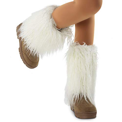 Women's Vegan Faux Long Fur Mid Calf Slip On Round Toe Lug Sole Eskimo Winter Boots TAN (8)