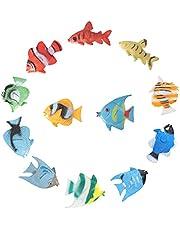 NUOBESTY 12 Stuks Tropische Vis Figuur Play Set Mini Zee Dieren Speelgoed Plastic Vis Speelgoed Voor Kinderen Leren Educatief Speelgoed