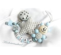Cadena de chupete de bebé Teddy con nombres – Niños – Regalo ...