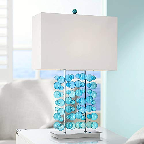 (Modern Table Lamp Blue Bubble Cascade Glass Chrome Bright White Box Shade for Living Room Bedroom Bedside Nightstand Office Family - Possini Euro Design)