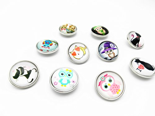 Lovglisten 10pcs 20mm Cute Owl Style Snap Button Chunk Jewelry Charms