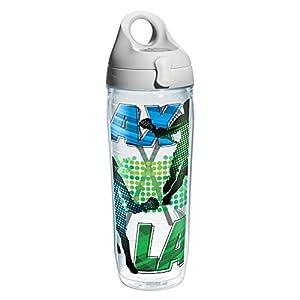 Tervis 1206875 Lacrosse Logo Water Bath Wrap Water Bottle with Grey Water Bath Lid, 24 oz, Clear