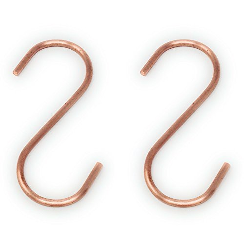 Copper S Hooks Made from Heavy Duty Solid Copper for Hanging Kitchen Pots & Pans, Bird Feeders, (Copper Hook)