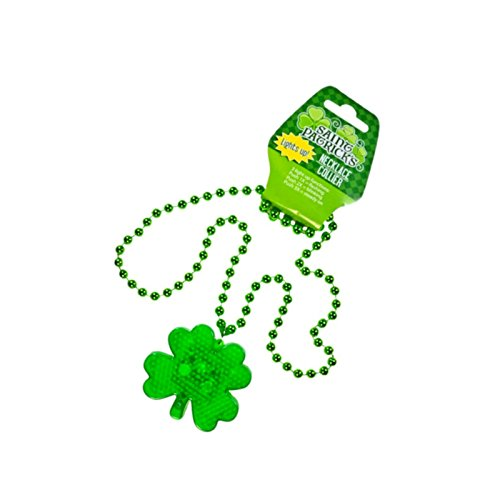 [St. Patrick's Day Plastic Light-Up Shamrock Necklace LED Battery Included, Happy Saint Patrick Day Party Play Costume, Bar Decorative Seasonal Green] (Paddys Day Costumes)
