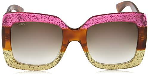 5be6b668883 Gucci 0083 002 Fuchsia Havana Gold Glitter GG0083S Sunglasses ...