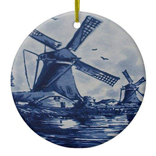 (Arthuryerkes Keepsake Christmas Hanging Ornament Antique Delft Blue Tile Windmills by The Water Ceramic Ornament Circle )