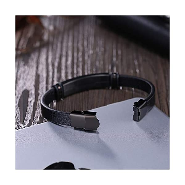 Yellow Chimes Magnetic-Clasp Genuine Leather Band Wrap Bracelet for Men and Boys