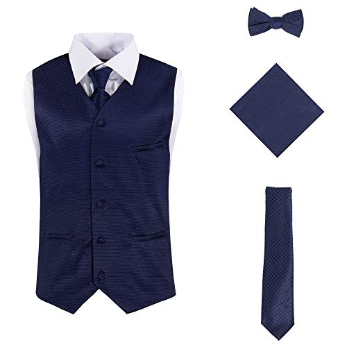 (Vittorino Mens 4 Piece Formal Vest Set Combo with Tuxedo Vest Tie Bow Tie and Handkerchief, Navy Texture, XXX-Large)