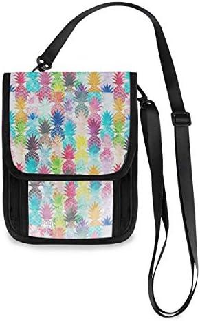 トラベルウォレット ミニ ネックポーチトラベルポーチ ポータブル カラー パイナップル 小さな財布 斜めのパッケージ 首ひも調節可能 ネックポーチ スキミング防止 男女兼用 トラベルポーチ カードケース
