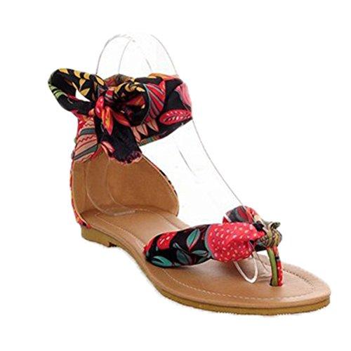 Donalworld Dame Floral Klut Flip Flop Blonder Ankelbånd Brytes Flat Sandal Sort