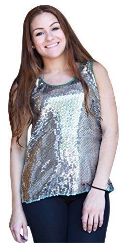 Retro High Low Sequin Sheer Sleeveless Top (Large, Silver-Green)