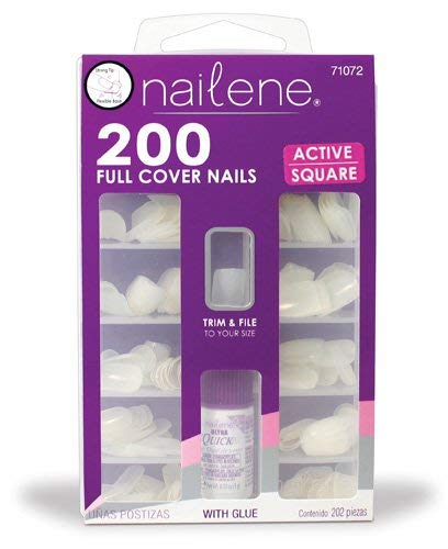 Amazon.com: Nailene 200 Full Cover Nails Active Square With Glue by Nailene: Beauty