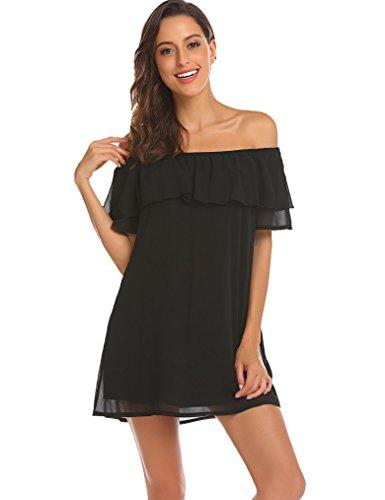 Women's Off Shoulder Chiffon Ruffles Shift Loose Mini Dress (L, Black)