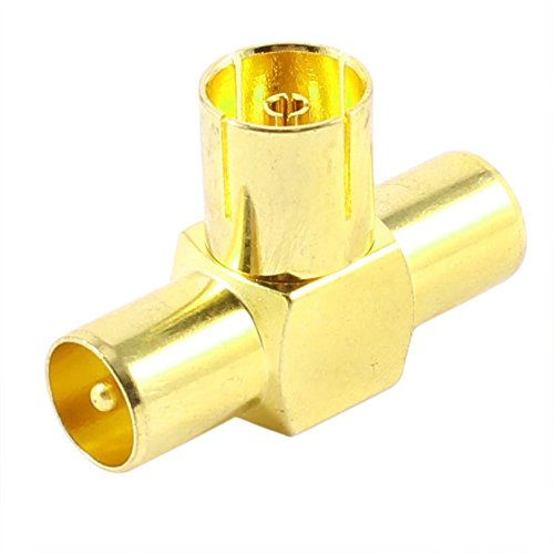 Gold Tone 3 Way Rf Female To Male Tv Coaxial Aerial Antenna -