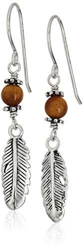 Sterling Silver Feather Tiger Eye Drop Earrings ()