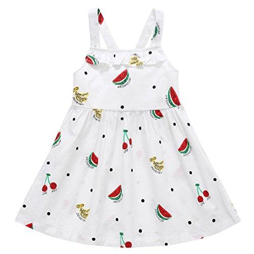 BOBORA Baby Girls Summer White & Blue Plaid Dresses Printed Sleeveless Tunic Dress