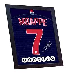 SGH SERVICES Neuf Kylian Mbappe T-Shirt Paris Saint Germain T-Shirt Maillot de Football dédicacée encadrée Toile 100% Coton autographe encadrée