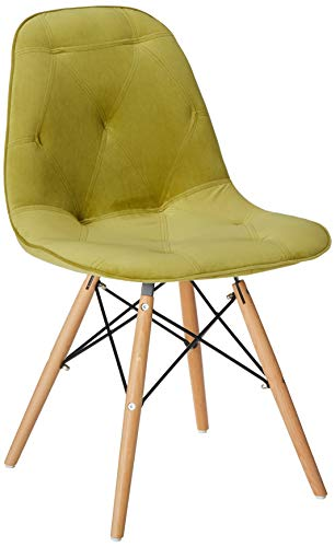 Zuo Modern 104156 Probability Dining Chair, Modern Shape, Polyblend and Wood Materials, Up to 250 lbs Weight Capacity, Green