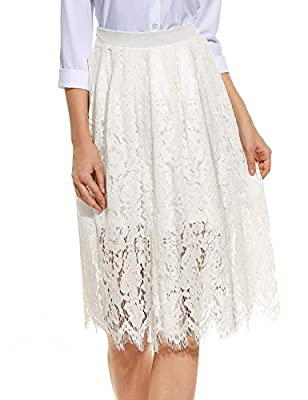 ANGVNS Women's Floral Printed Lace A-Line Street Party Midi Long Skirt