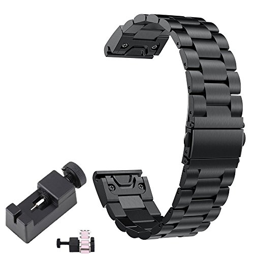 TenCloud Fenix 5X,5X Plus Metal Band 26mm Easy Fit,Stainless Steel Bracelet Link Band Replacement for Garmin Fenix 5X/Fenix 5X Plus/Fenix 3/quatix 3 Watch[NOT for Fenix 5S&Fenix 5](Black-Link)