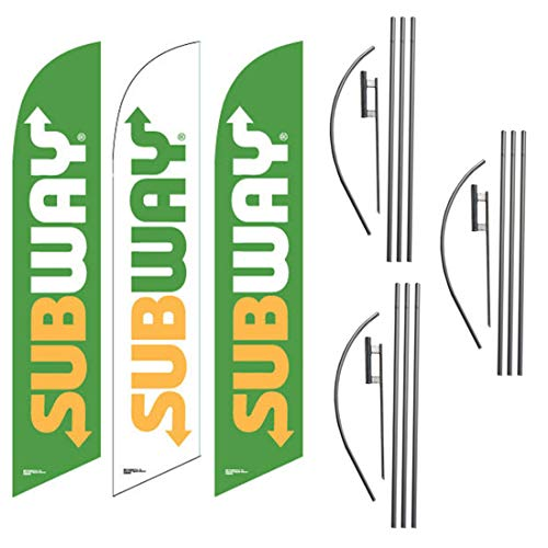 Subway Franchise Advertising Feather Flag Kits, Three Pack of 15 Foot Outdoor Windless Swooper Banner Flag Sets, Includes Flag Poles and Ground Stakes
