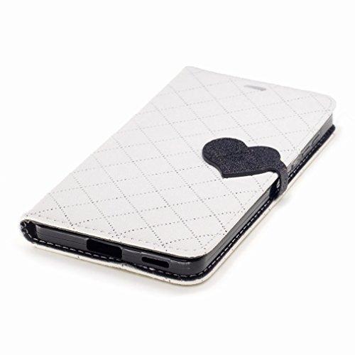 Yiizy Nokia 6 Custodia Cover, Amare Design Sottile Flip Portafoglio PU Pelle Cuoio Copertura Shell Case Slot Schede Cavalletto Stile Libro Bumper Protettivo Borsa (Bianco)