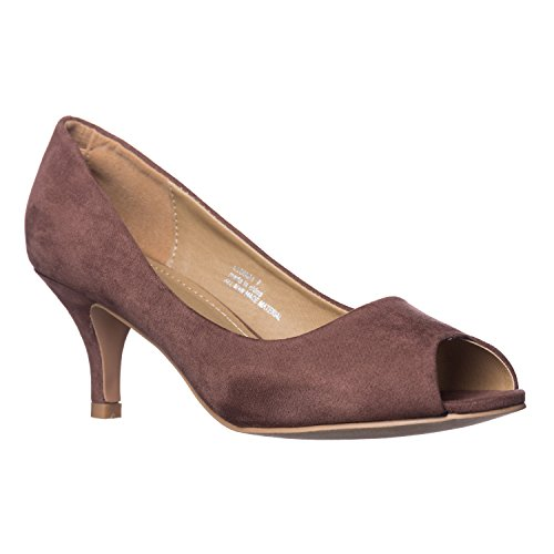 Riverberry Women's Lydia Open, Peep Toe Kitten Heel Pumps, Brown Suede, 7.5 ()
