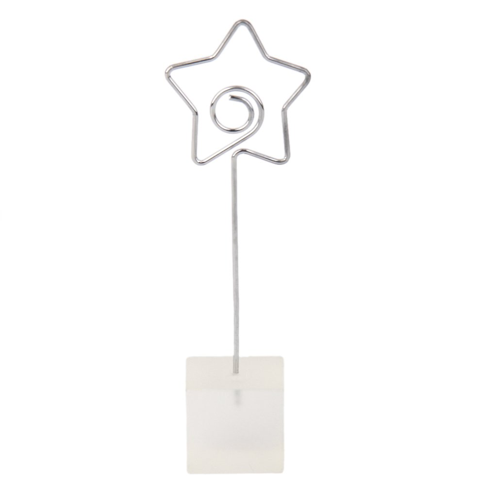 Translucent Cube Base Card Picture Memo Photo Clip Holder Star Shape Wire Clip Generic
