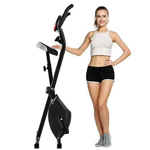 Hufcor Folding Upright Exercise Bike Stationary Recumbent Indoor Magnetic Cycling Bike Cardio Workout Machine (Black, One Size) by Hufcor