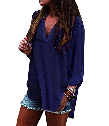 Femme Shirt Longue T Mousseline Blouse Tunique V Tops Chic Chemisier Manche Shirt Chemise Navy LaoZan Col RYzUwqRd