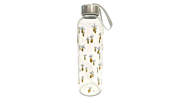 Sunny by Sue - Botella de agua de cristal decorada a mano, tapa de metal, 500 ml, diseño de piña: Amazon.es: Bricolaje y herramientas