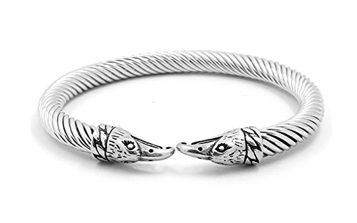 - Mealguet Jewelry Elastic Cool Stainless Steel Twisted Cable Eagle Head Norse Viking Cuff Bangle Bracelets for Men