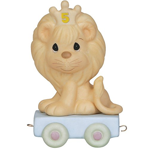 Precious Moments,  This Day Is Something To Roar About, Birthday Train Age 5, Bisque Porcelain Figurine, 142025 Five Train