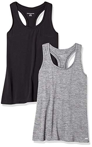 Amazon Essentials Women's 2-Pack Tech Stretch Racerback Tank Top, Space dye/Black, Large