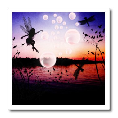 ht_48975_1 Renderly Yours Fairies - Fairy With Dragonflies And Bubbles Over Pond - Iron on Heat Transfers - 8x8 Iron on Heat Transfer for White Material