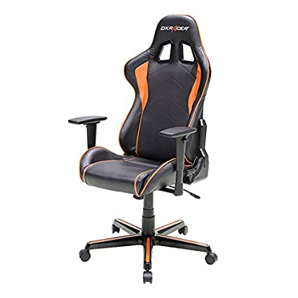 DXRacer FH08/NO Black Orage Racing Bucket Seat Office Chair Computer Chair  Ergonomic with Lumbar Support (Orange)