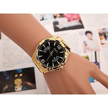 Los hombres relojes de Europa y Estados Unidos vendiendo falsos cuarzo suizo calendario mano reloj con aleación de oro Negro negro: Amazon.es: Deportes y ...