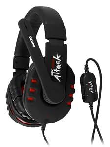 OZONE Attack- Auriculares estéreo para juego (15 - 25.000 Hz, 98 dB, 32 Ohm, clavija 3,5mm x 2 x 2,5 m de cable, micrófono LED) color negro
