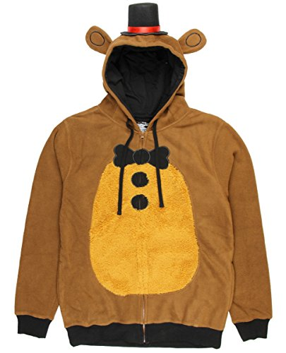 Five Nights at Freddy's Mens Freddy Fazbear Costume Hoodie (Small) Brown -