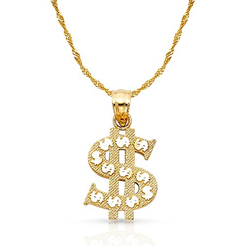 14K Yellow Gold Dollar Sign Charm Pendant with 1.2mm Singapore Chain Necklace - 22