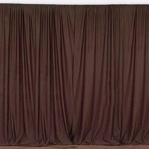 AK TRADING CO. 10 feet x 10 feet Polyester Backdrop Drapes Curtains Panels with Rod Pockets - Wedding Ceremony Party Home Window Decorations - Brown