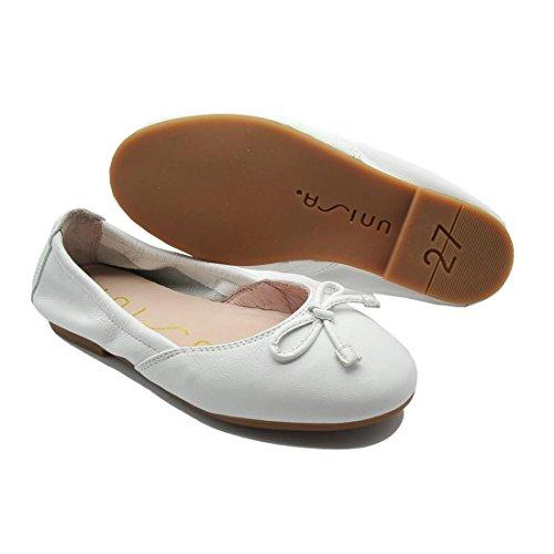 UNISA Damira - Bailarinas de Piel Para Niña, Color Blanco. Blanco