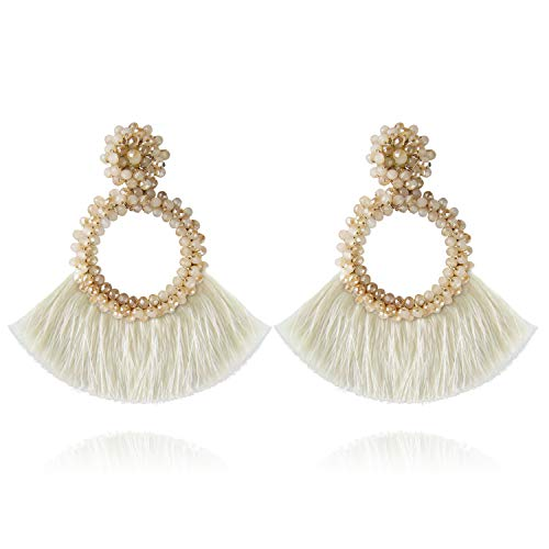 Jornarshar Hoop Round Tassel Earrings for Women Handmade Bohemia Beaded Fringe Dangle Earrings, Idea Gift for Mom, Sister and Friends (Cream White) ()