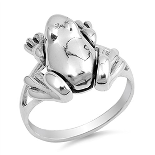 Moveable Frog Cute Animal Fidget Ring New .925 Sterling Silver Band Size 7