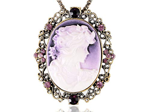 Alilang Vintage Inspired Brass Tone Crystals Cameo Lady Maiden Pendant Necklace