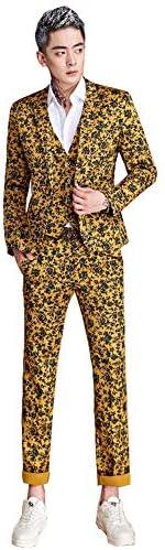 演出服 舞台ステージ衣装 メンズ プリント スタイリッシュスーツ ジャケット 上下セット キャバクラ アイドル パーティー 通勤 司会者 カラオケ 結婚式 貴公子 貴族 忘年会 新年会 学園祭 大きいサイズ M~5XL (上下セット, L)