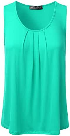 DRESSIS Women's Pleated Scoop Neck Loose Fit Tank Top S-3XL (20 Colors)